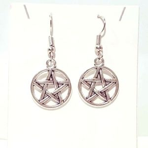 Silver Pentagram Drop Earrings